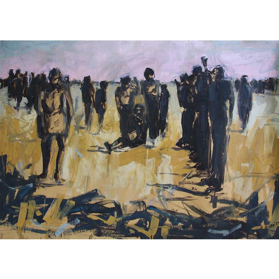 Asanda Kupa Umonakalo ezweni 2020 Oil on paper 90 x 140 cm