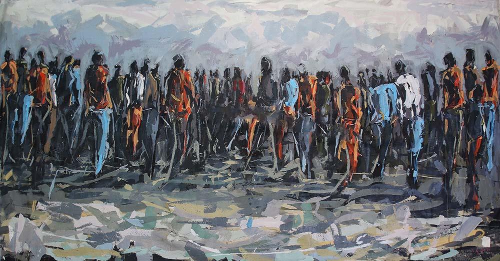 Asanda Kupa Where the wind goes, they followed 2019 Acrylic on canvas 150 x 250 cm