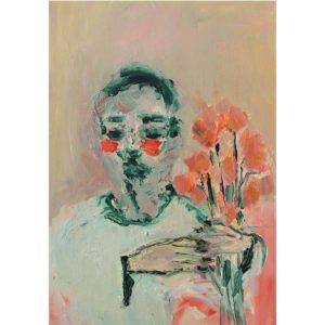 Anico Mostert Boy with flowers 2020 Oil & acrylic on board 42.2 x 59.7 cm