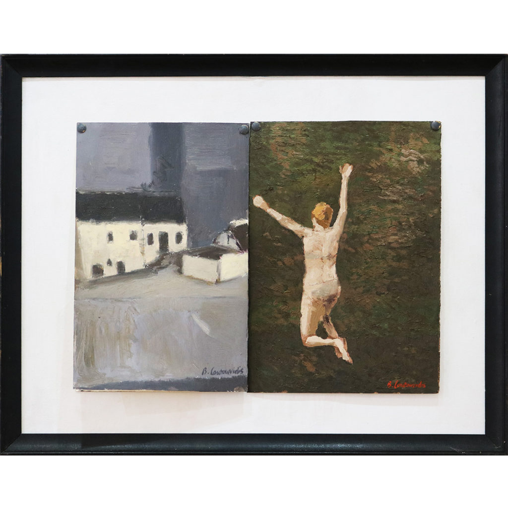 Ben-Coutouvidis-Jumping-2018-oil-on-card-43-x-31.5-cm