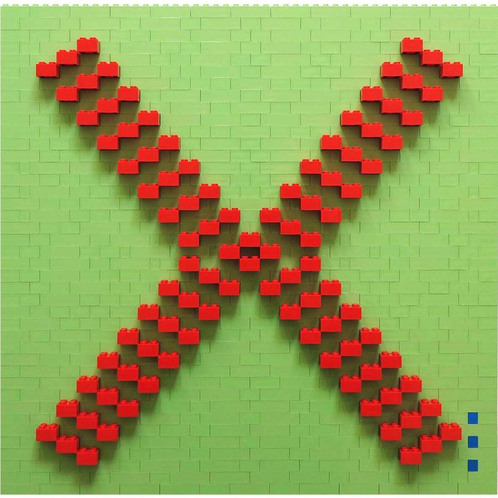 Hug mint_red,2020, Building blocks adhered to Plexiglas, 40 x 40 cm
