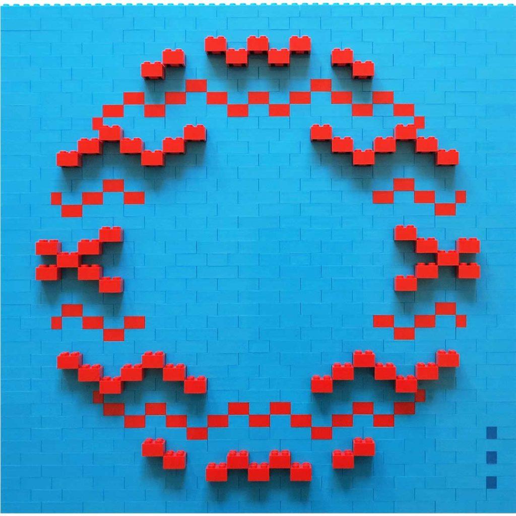 Kiss midblue_red, 2020, Building blocks adhered to Plexiglas, 40 x 40 cm
