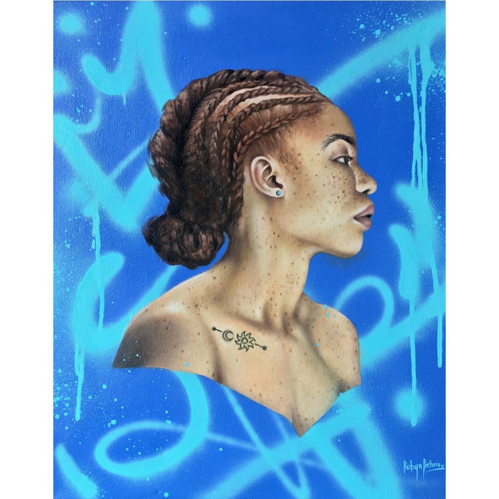 Mar e sol _51cm_x_41cm. Acrylic, spray paint in canvas