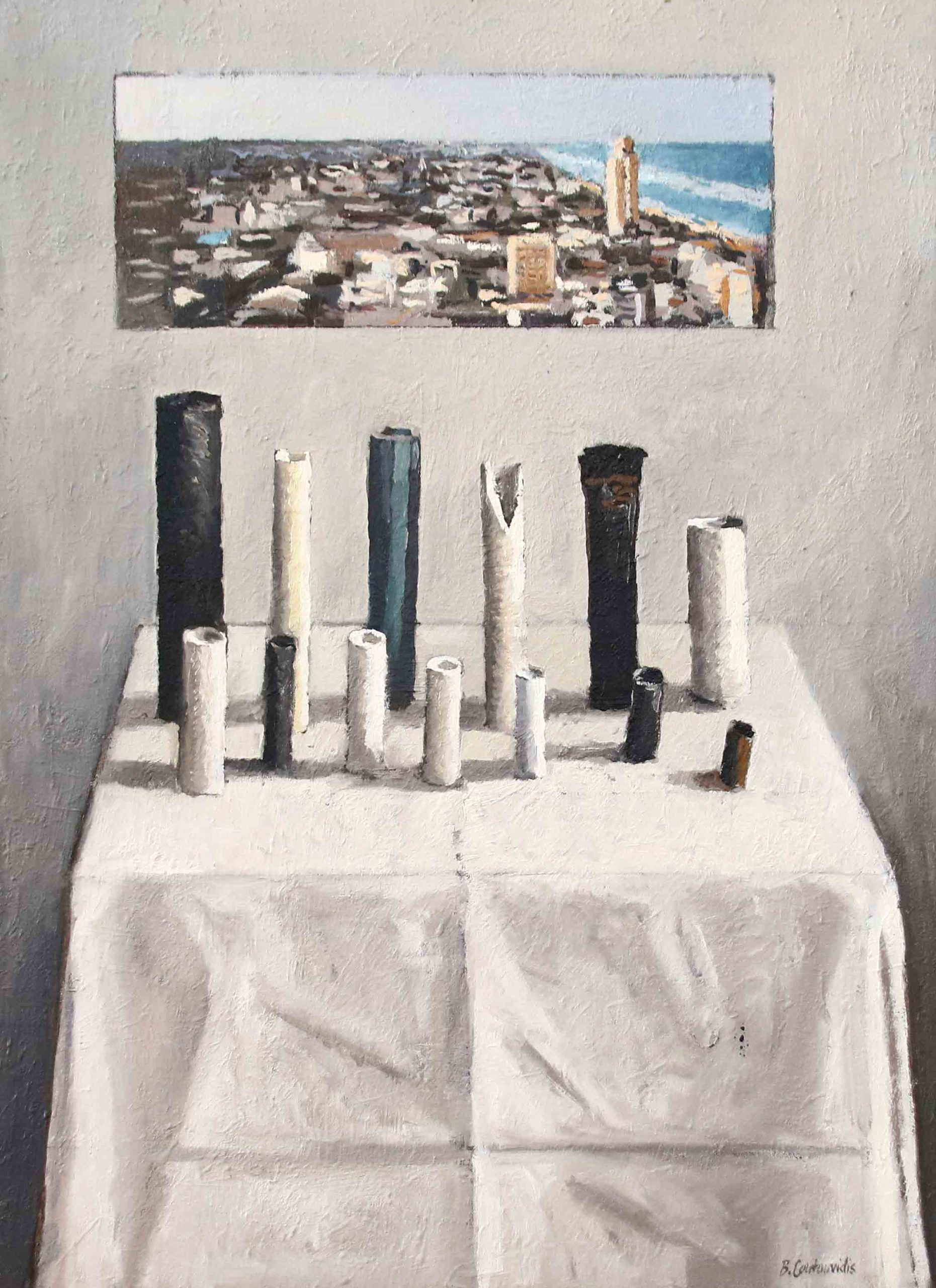 Ben Coutouvidis | Pipes with view of European Coastal City | 2020 | Eclectica Contemporary | Gallery | Cape Town |