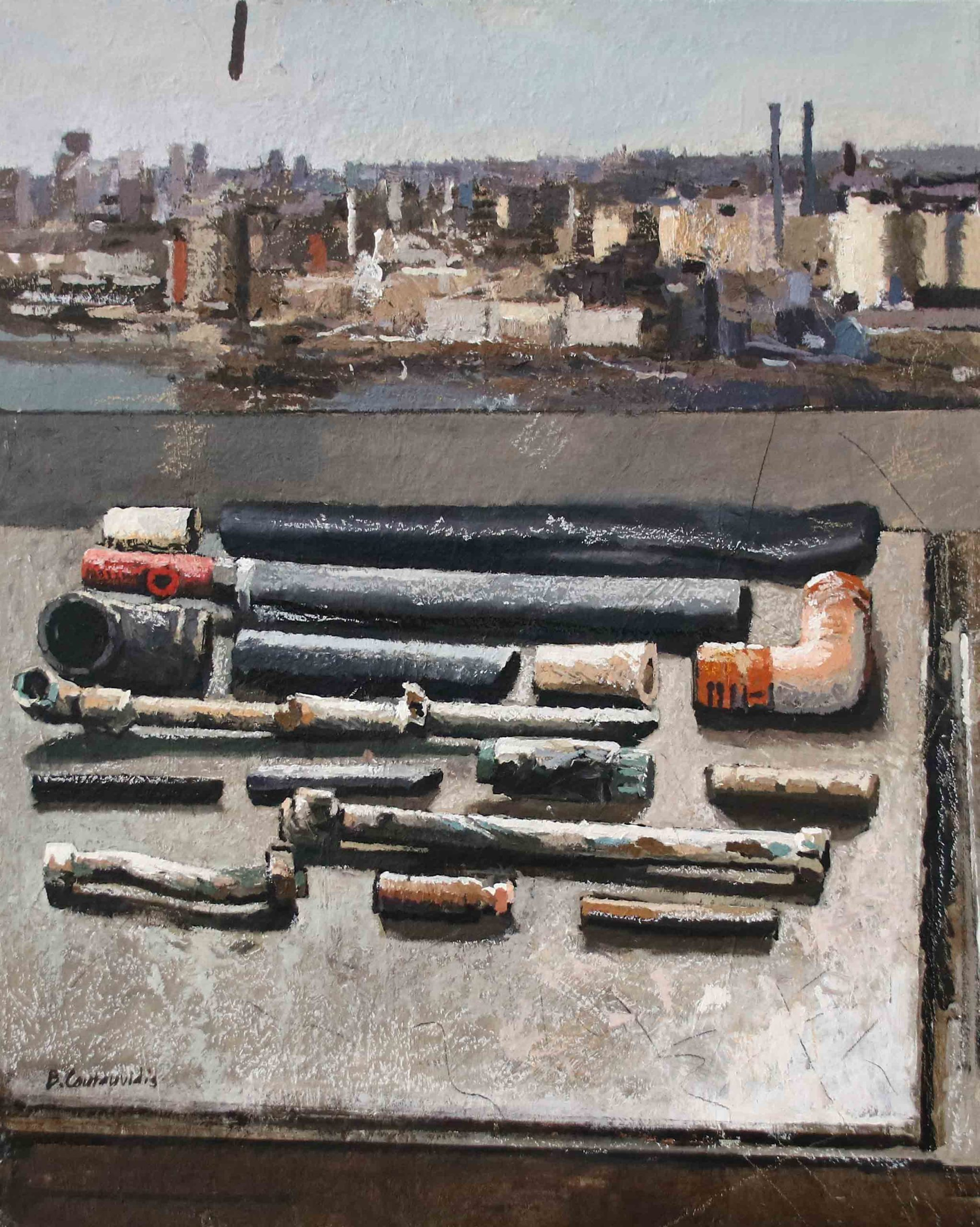 Ben Coutouvidis | Pipes with view of New York river front | 2020 | Eclectica Contemporary | Gallery | Cape Town |